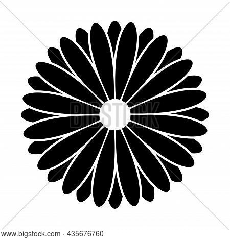 Daisy Chamomile Icon. Beautiful Abstract Illustration Black Chamomile Flower Logo, Nature Sign On Wh
