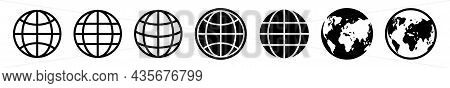 Earth Globe Vector Icon Set. World Map Black Icons Isolated. World Wide Web Signs On White Backgroun