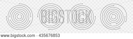 Concentric Circle Geometric Vector Elements. Circular And Radial Spiral. Abstract Round Swirl Line B
