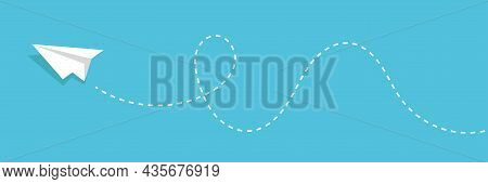 Blue Sky With Paper Plane Flying Vector Background. Creative Carton Border Of Clouds. Airy Atmospher