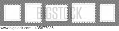 Blank Paper Postage Stamps Vector Collections. Mark Mail Letter Vintage Stamps Design Template. Post