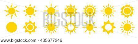 Sun Sunshine Set Vector Icons. Flat Modern Shining Symbols Collection. Shine Sun Ray Logo Or Sing. S