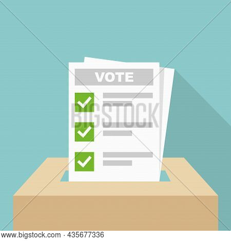 Voting Background. Vote Ballot Going Into A Box Vector Illustration. Your Vote Matters Concept.
