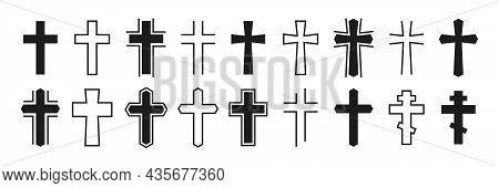 Christian Cross Vector Icon Set. Art Various Black Christian Cross. Religion Symbols Isolated On Whi