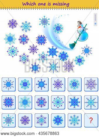 Logic Puzzle Game For Children And Adults. Help The Snowman Find The Lost Snowflake. Which One Is Mi