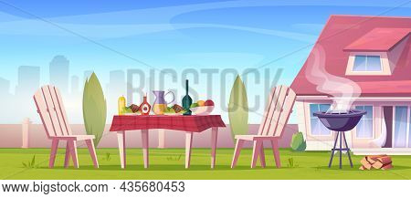 Outdoor Picnic On Sunny Summer Day. Relax Zone With Barbecue And Set Table With Food And Drinks, Cha