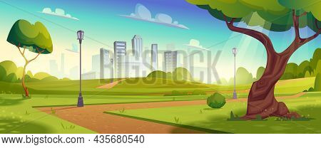 Summer Park With Trees, Walking Path And Lamp Posts. Landscape With Skyline Cityscape House Building