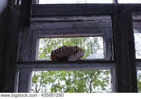 Smashed Glass, Brick On Window With Old Wooden Frame. Old Window. Old House, Retro. Cracked Window F
