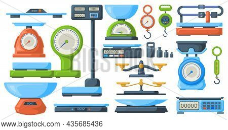 Store Electronic And Mechanical Scales For Weight Measuring. Market Or Kitchen Measuring Libra Instr
