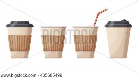 Coffee Hot Drink Paper Cups. Cafe, Restaurant Or Take Out Coffee Plastic Cups, Disposable Plastic Ho