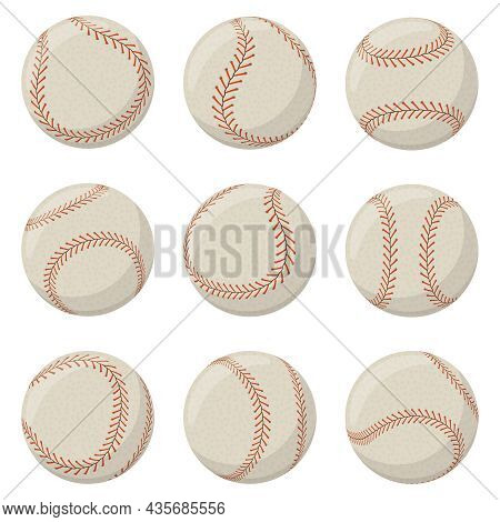 Baseball Sport Game Ball With Red Lace Stitches. Softball, Baseball Leather Ball Decorated With Lace