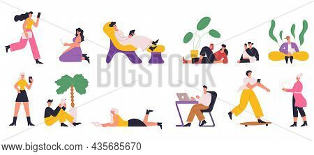 Characters Using Internet With Mobile Gadgets, Smartphone, Tablet, Laptop. People Playing Games, Cha