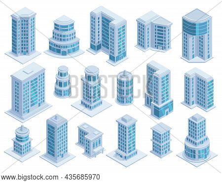 Isometric City Urban Skyscrapers, Buildings And Modern Architecture Towers. Skyscrapers Architecture