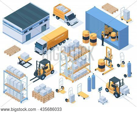 Isometric Storage Buildings, Cargo Trucks And Warehouse Workers. Industrial Warehouse Equipment, Log