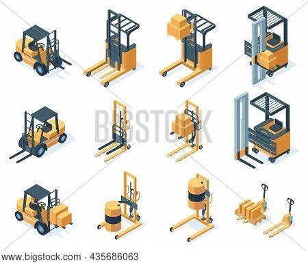 Isometric Warehouse Hydraulic Cargo Forklift Trucks. Storage Equipment, Machinery Transportation For