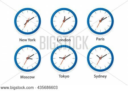 Flat Vector Wall Office Clock Icon Set. Time Zones Of Different Cities, White Dial. Design Template