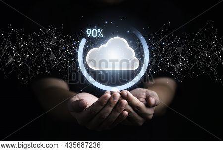 Businessman Holding Virtual Cloud Computing With Download Percentage Progress For Transfer Data Info