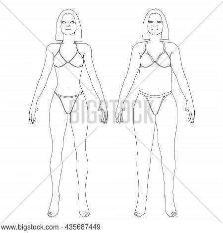 The Contour Of A Girl In Underwear, A Slim And Fat Girl. The Process Of Obesity Of The Girl Body. Fr