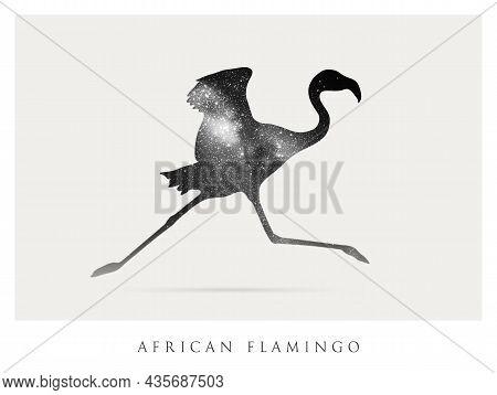 Flamingo Silhouette. Abstract Animal Shape. Night Starry Sky