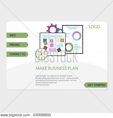 Make Business Plan Landing Page, Vector Business Planning, Illustration Planner For Manage And Organ