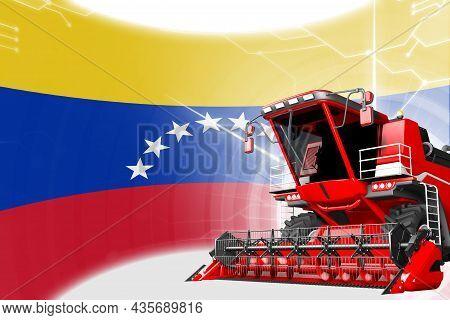 Digital Industrial 3d Illustration Of Red Advanced Farm Combine Harvester On Venezuela Flag - Agricu