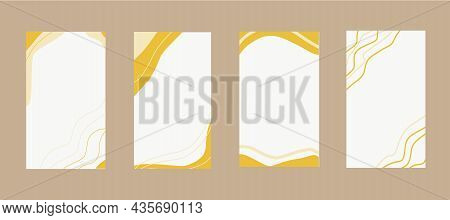 Abstract Template Backgrounds For Stories Set Hand Drawn In Trendy Autumn Colors 2021. Vector, Minim