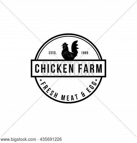 Chicken Farm Logo Vintage Premium Quality. Fresh Eggs Logo. Premium Element Design Packaging. Emblem