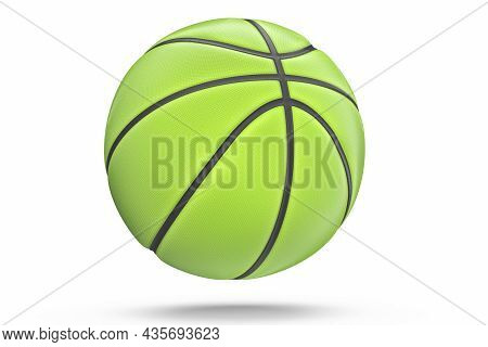 Green Basketball Ball Isolated On White Background