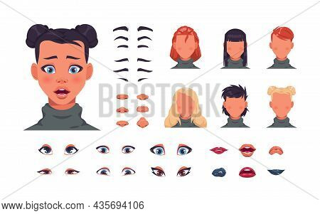 Female Face Kit. Woman Character Avatar Constructor With Hair, Eyes And Lips. Face Shape With Variou