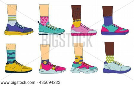 Doodle Legs With Shoes. Sport Fashion Footwear On Womans And Mans Feet With Colored Socks. Vintage C