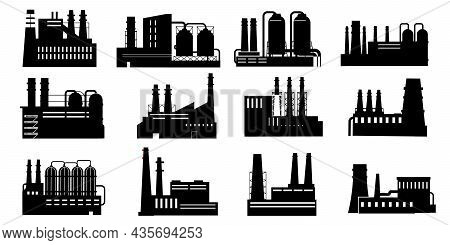 Black Factories. Buildings Silhouettes With Pipes. Industry Production And Power Plants. Chemical Eq