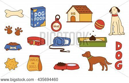 Dog Supplies. Doodle Pet Shop Assortment. Food And Toys For Puppies. Playing Ball Or Bone. Collar Wi