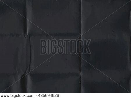 Crumpled Black Paper Texture. Abstract Dark Background With Wrinkled Cardboard Texture. Vector Illus