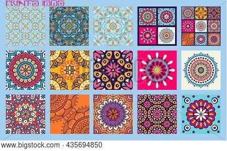 Pattern Vector Tiles Traditional Textures Ornamental Ceramics Spanish Portuguese Mexican Arabic Moro