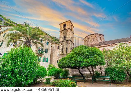 Saint Mary Collegiate Church In Kotor At Sunrise, Montenegro