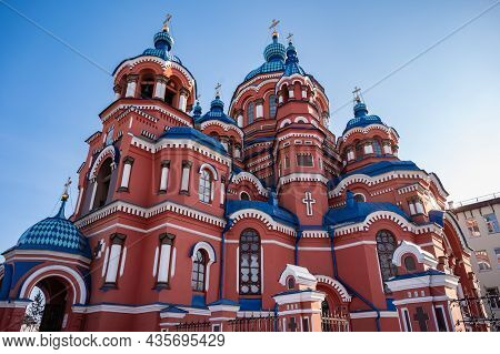 Beautiful Architecture Of Kazan Church An Iconic Orthodox Church In The City Of Irkutsk, Russia. Kaz