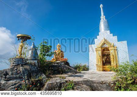 Buddhist Stupa On Doi Nork An Iconic Huge Grey Black Rock In Doi Luang National Park In Phayao Provi