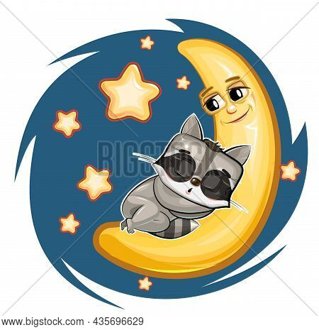 Kid Raccoon Sleeps On The Moon. Dreaming A Dream. Childrens Illustration. Funny Night Sky. The Baby
