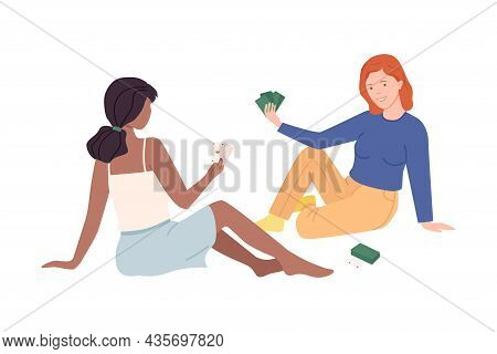 Girls Sitting On Floor And Playing Cards. Female Friends Playing Board Game Together Cartoon Vector