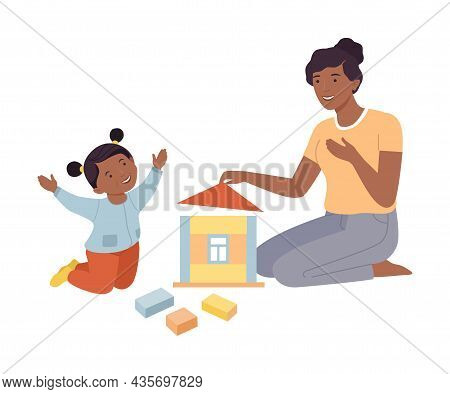 Mom And Daughter Playing Toy Blocks Together. Family Spending Time Together And Gaming Cartoon Vecto