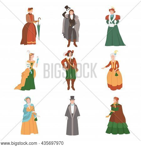 People In Historical Costumes Of The 19th Century. Victorian People Fashion Cartoon Vector Illustrat