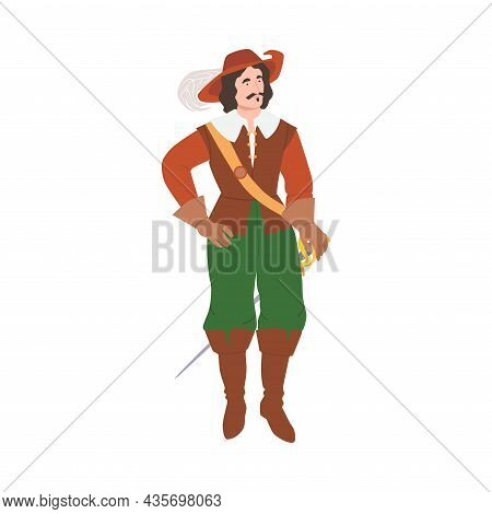 Man In Historical Costume Of 18th Century. Baroque And Rococo Fashion Cartoon Vector Illustration