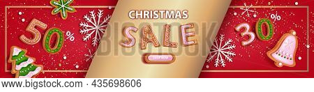 Christmas Holiday Sale Banner, Vector X-mas Discount Background, Winter Promotion Offer Landing Page