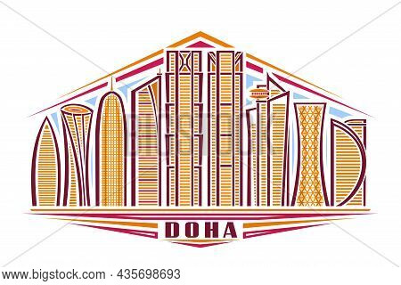 Vector Illustration Of Doha, Horizontal Poster With Linear Design Famous Doha City Scape On Day Sky