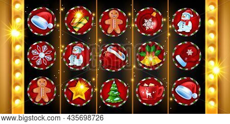 Casino Christmas 5-reel Slot Game Icon Set, Vector Gambling Machine Background, X-mas Holiday Winter