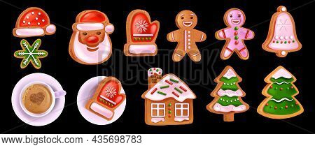 Christmas Gingerbread Cookie Set, Vector X-mas Homemade Sweet Pastry, Santa Claus Face, Coffee Cup.