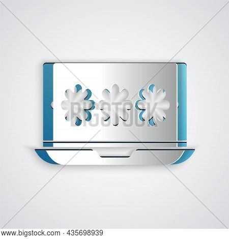 Paper Cut Laptop With Password Notification Icon Isolated On Grey Background. Security, Personal Acc