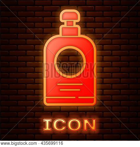 Glowing Neon Hand Sanitizer Bottle Icon Isolated On Brick Wall Background. Disinfection Concept. Was