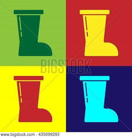 Pop Art Waterproof Rubber Boot Icon Isolated On Color Background. Gumboots For Rainy Weather, Fishin
