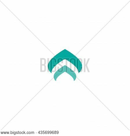 Two Blue Arrows Up Icon. Swipe Up Button. Isolated On White. Upload Icon. Upgrade, Speed Up Sign. No